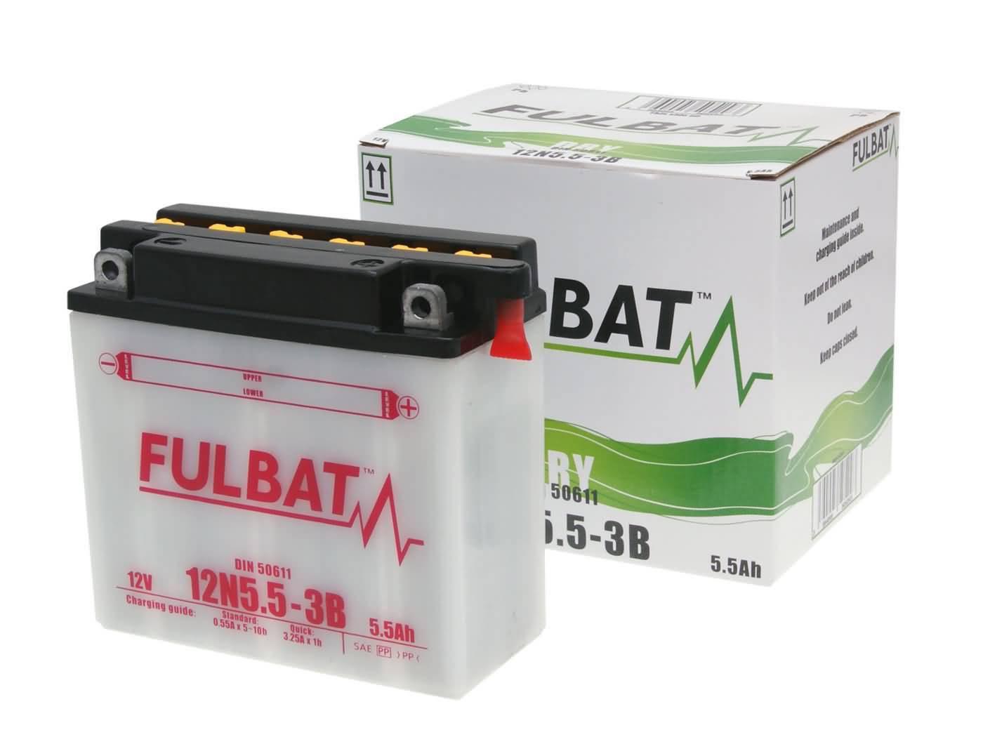 Fulbat 12N5.5-3B DRY száraz akkumulátor + savcsomag