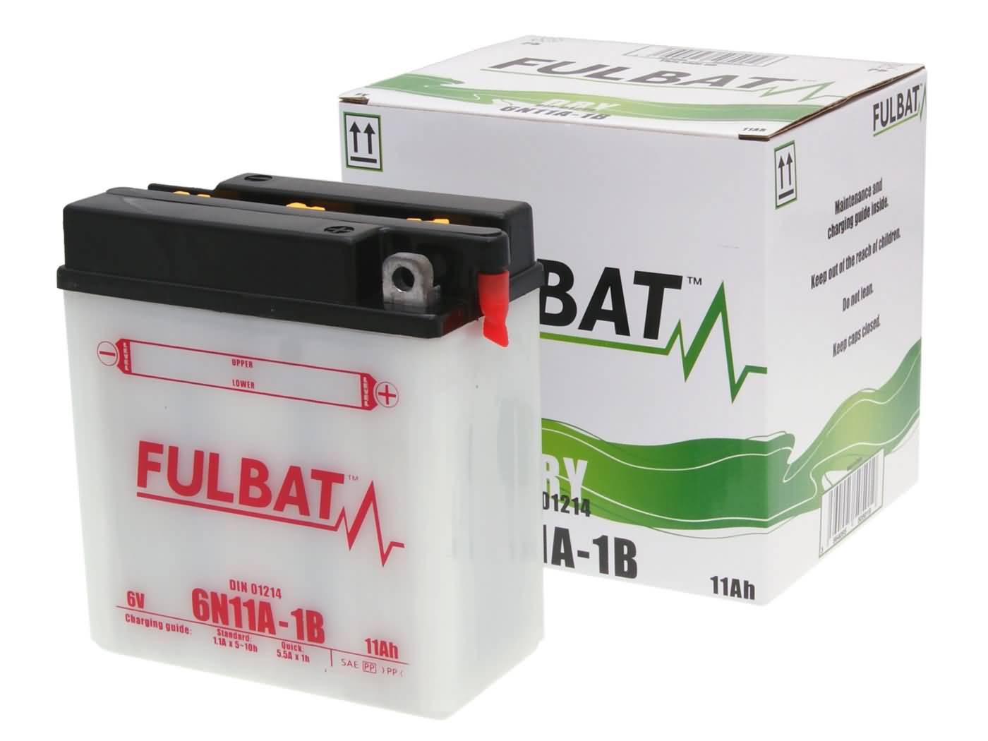 Fulbat 6V 6N11A-1B DRY száraz akkumulátor + savcsomag
