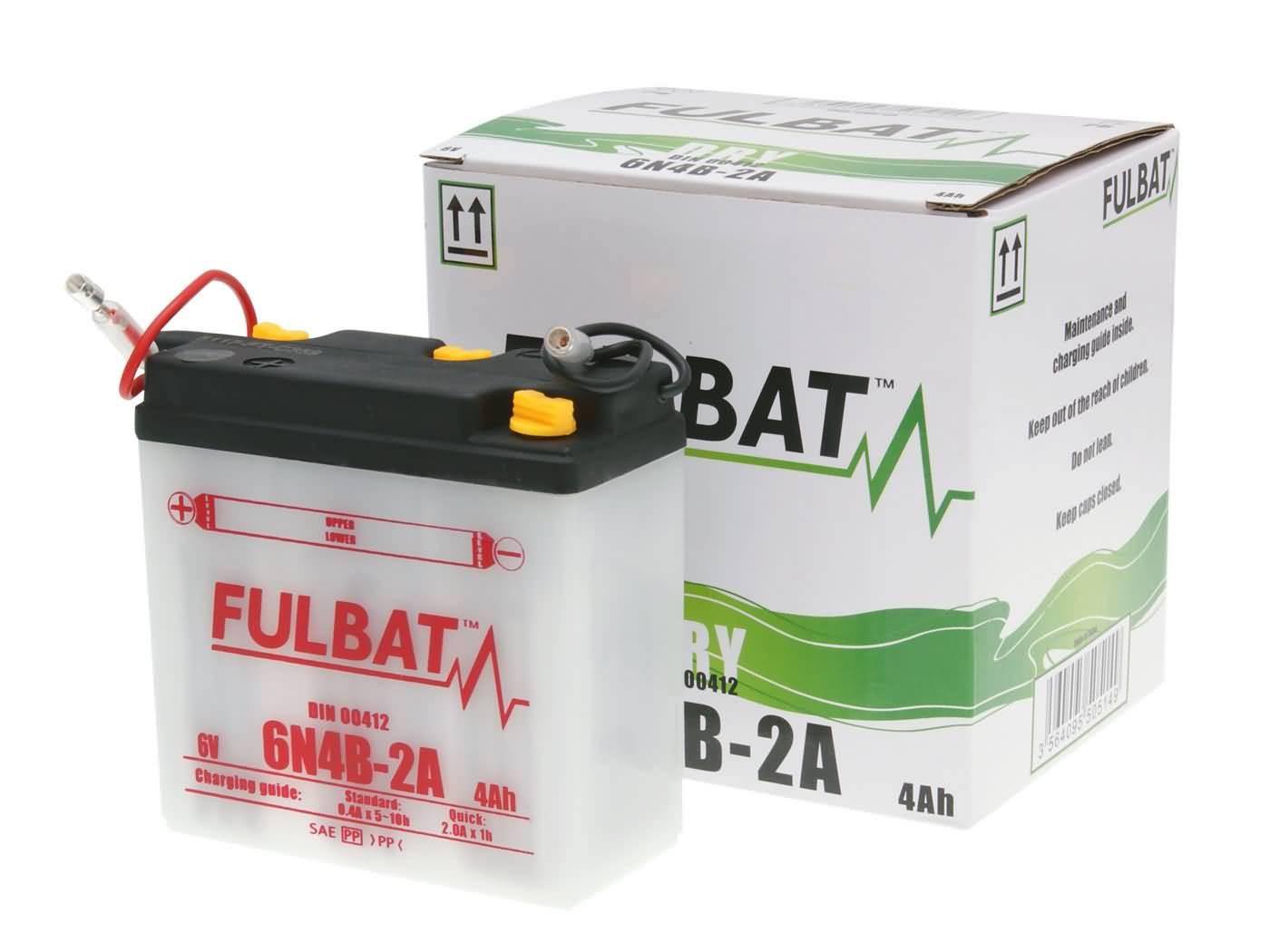 Fulbat 6V 6N4B-2A DRY száraz akkumulátor + savcsomag