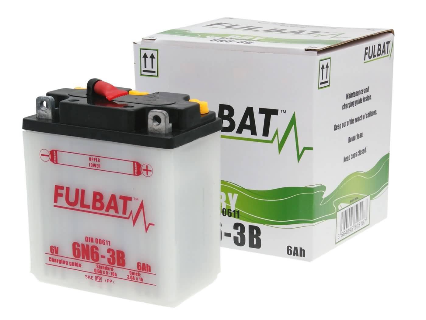 Fulbat 6V 6N6-3B DRY száraz akkumulátor + savcsomag